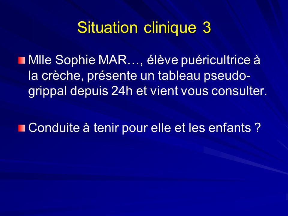 Situation clinique 3 Mlle Sophie MAR…, élève puéricultrice à la crèche, présente un tableau pseudo- grippal depuis 24h et vient vous consulter.