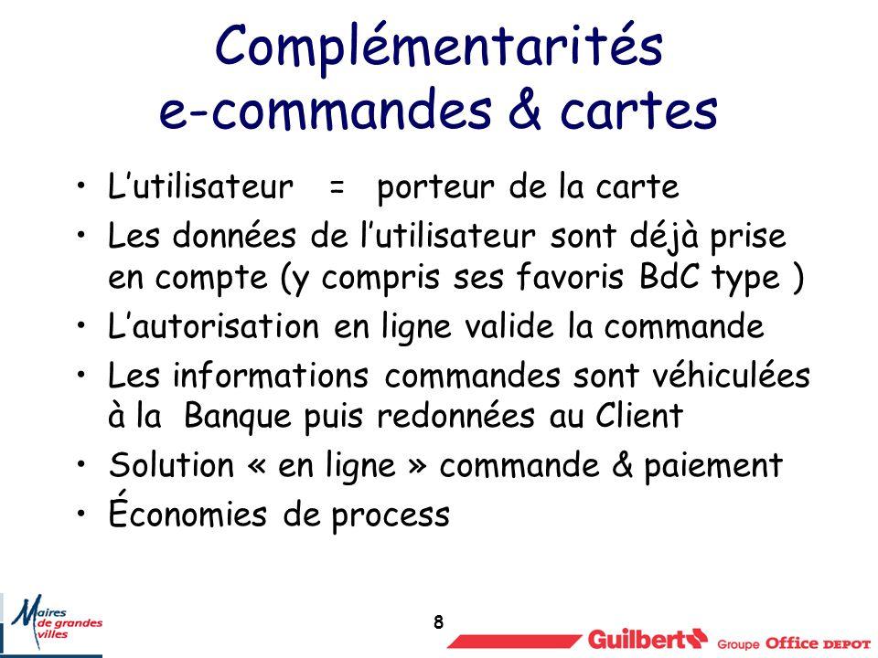 8 Complémentarités e-commandes & cartes Lutilisateur = porteur de la carte Les données de lutilisateur sont déjà prise en compte (y compris ses favori