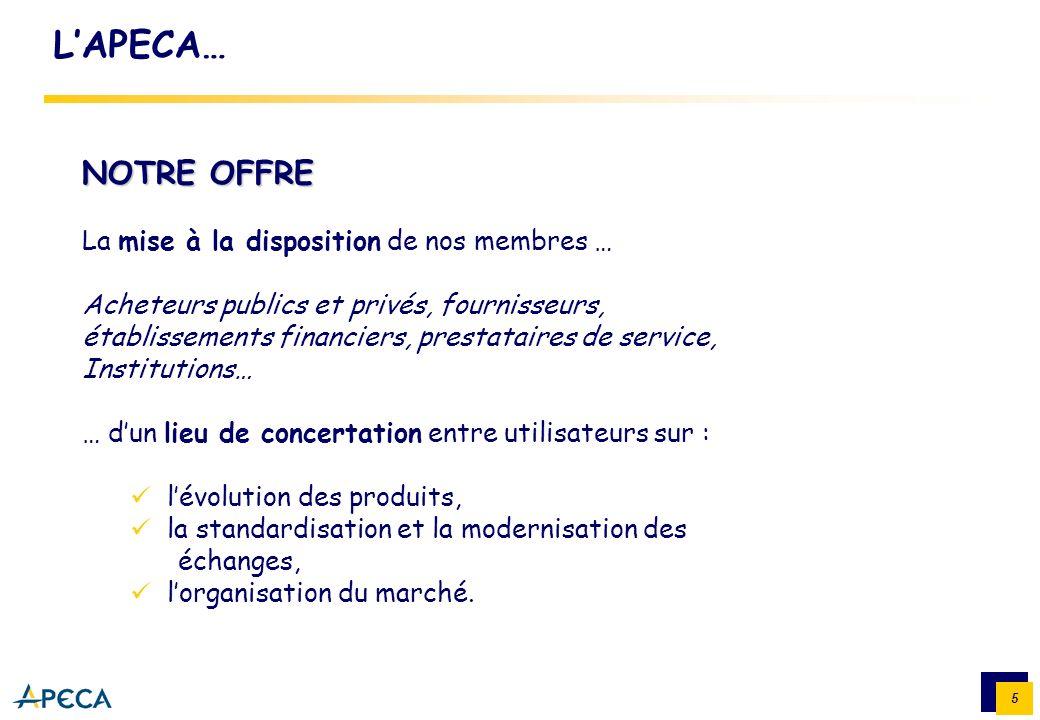 5 LAPECA… NOTRE OFFRE La mise à la disposition de nos membres … Acheteurs publics et privés, fournisseurs, établissements financiers, prestataires de