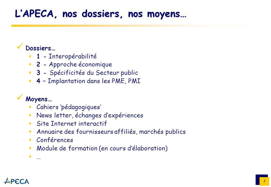 7 LAPECA, nos dossiers, nos moyens… Dossiers… 1 - Interopérabilité 2 - Approche économique 3 - Spécificités du Secteur public 4 – Implantation dans le