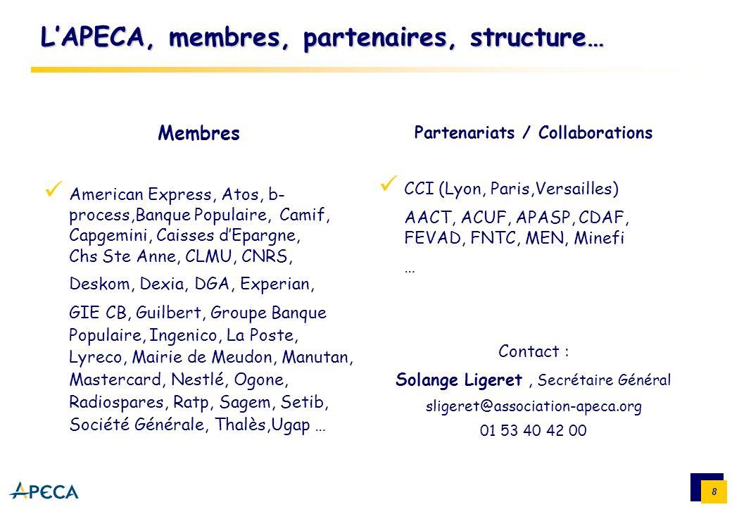 8 LAPECA, membres, partenaires, structure… Membres American Express, Atos, b- process,Banque Populaire, Camif, Capgemini, Caisses dEpargne, Chs Ste An