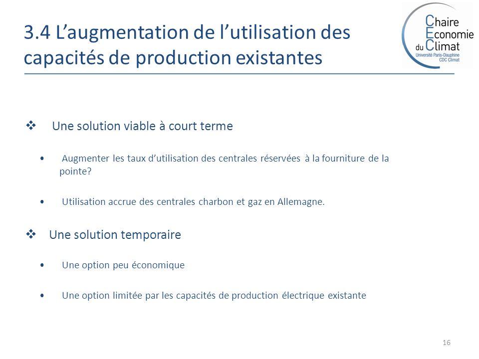 3.4 Laugmentation de lutilisation des capacités de production existantes 16 Une solution viable à court terme Augmenter les taux dutilisation des centrales réservées à la fourniture de la pointe.