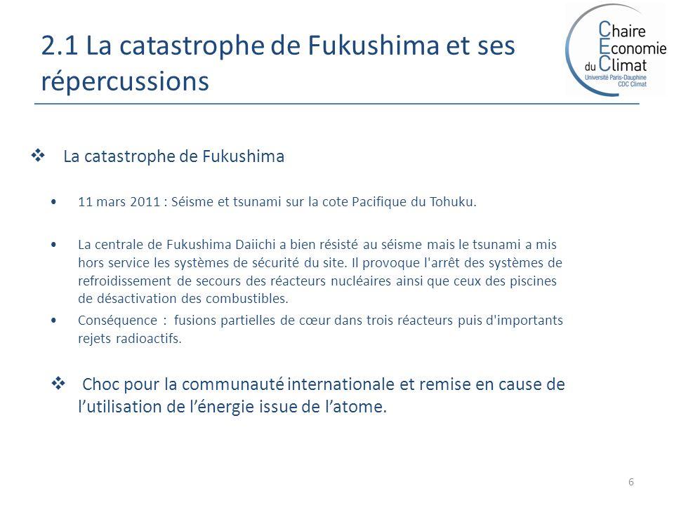2.1 La catastrophe de Fukushima et ses répercussions 6 La catastrophe de Fukushima 11 mars 2011 : Séisme et tsunami sur la cote Pacifique du Tohuku. L
