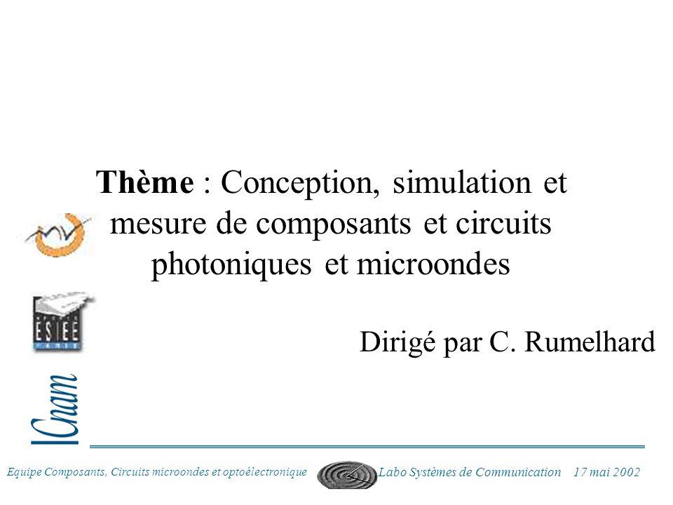 Equipe Composants, Circuits microondes et optoélectronique Labo Systèmes de Communication 17 mai 2002 Thème : Conception, simulation et mesure de comp