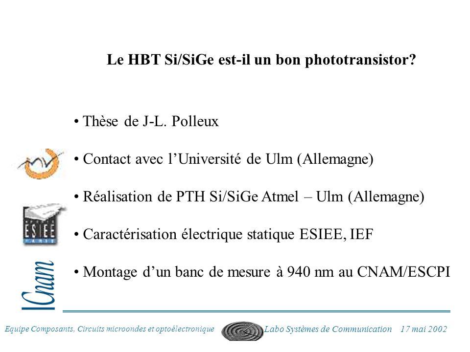 Equipe Composants, Circuits microondes et optoélectronique Labo Systèmes de Communication 17 mai 2002 Thèse de J-L. Polleux Contact avec lUniversité d