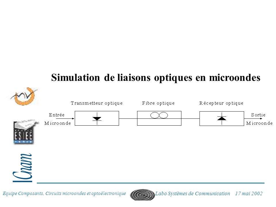 Equipe Composants, Circuits microondes et optoélectronique Labo Systèmes de Communication 17 mai 2002 Simulation de liaisons optiques en microondes