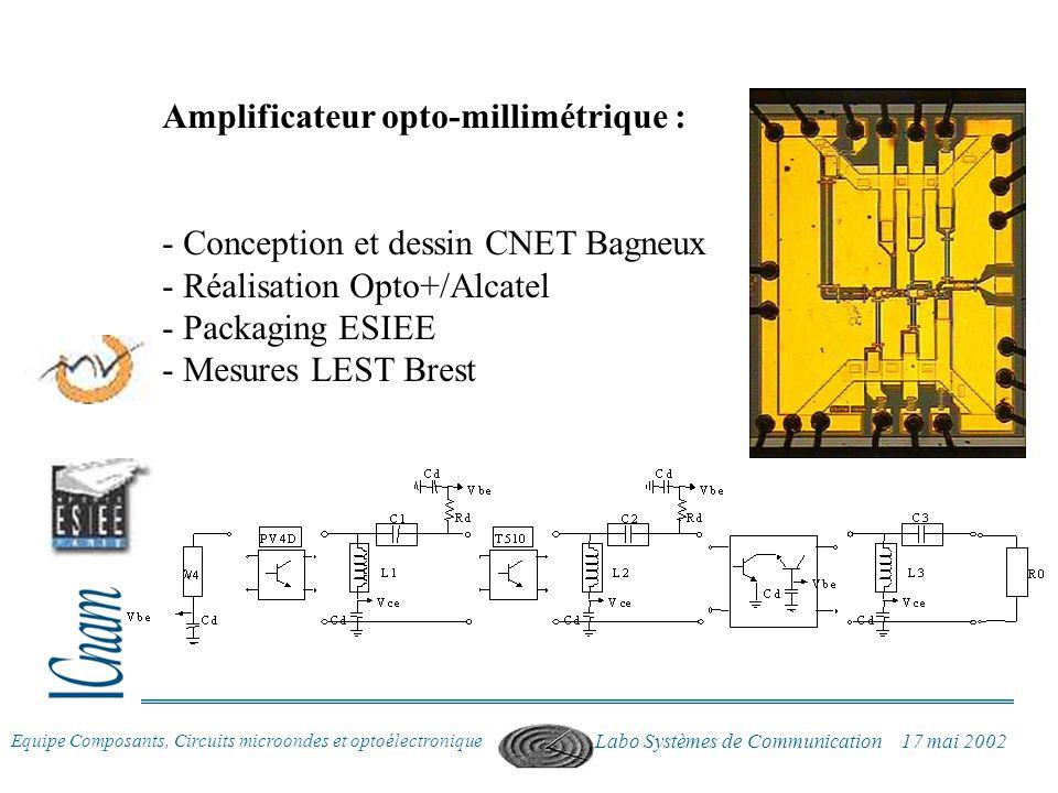 Equipe Composants, Circuits microondes et optoélectronique Labo Systèmes de Communication 17 mai 2002 Amplificateur opto-millimétrique : - Conception