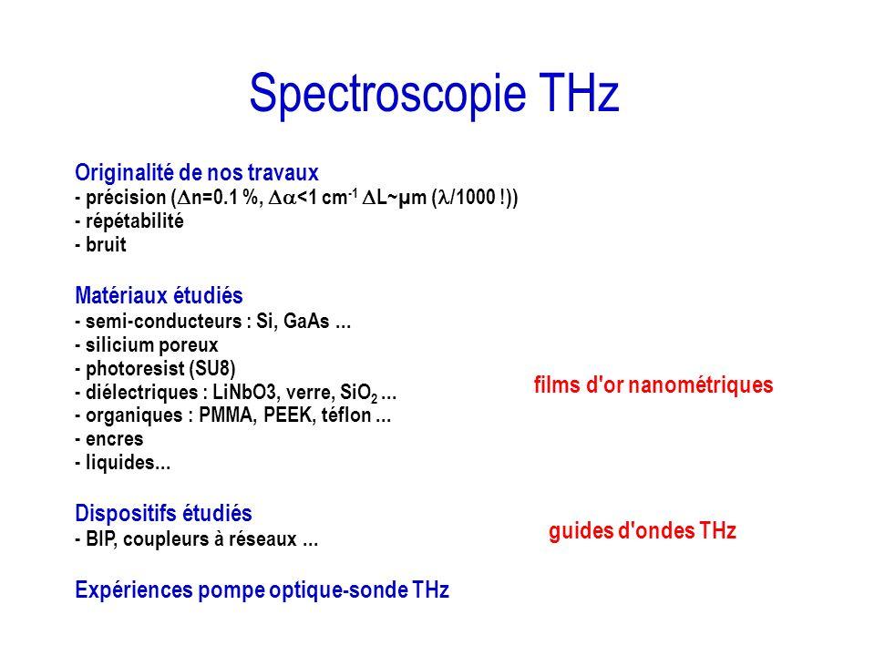 Spectroscopie THz Originalité de nos travaux - précision ( n=0.1 %, <1 cm -1 L~µm ( /1000 !)) - répétabilité - bruit Matériaux étudiés - semi-conducte