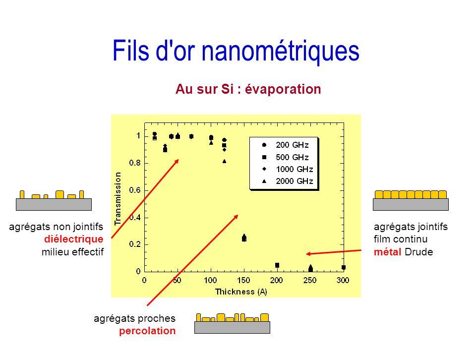 Fils d'or nanométriques agrégats non jointifs diélectrique milieu effectif agrégats proches percolation agrégats jointifs film continu métal Drude Au
