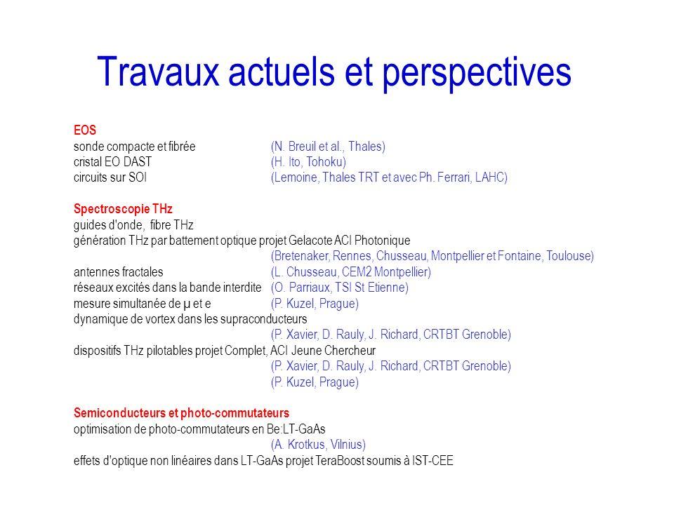 Travaux actuels et perspectives EOS sonde compacte et fibrée(N. Breuil et al., Thales) cristal EO DAST(H. Ito, Tohoku) circuits sur SOI(Lemoine, Thale