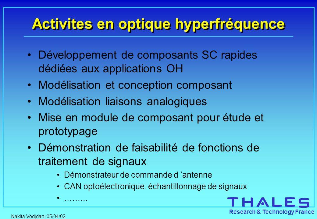 Nakita Vodjdani 05/04/02 Research & Technology France Activites en optique hyperfréquence Développement de composants SC rapides dédiées aux applicati