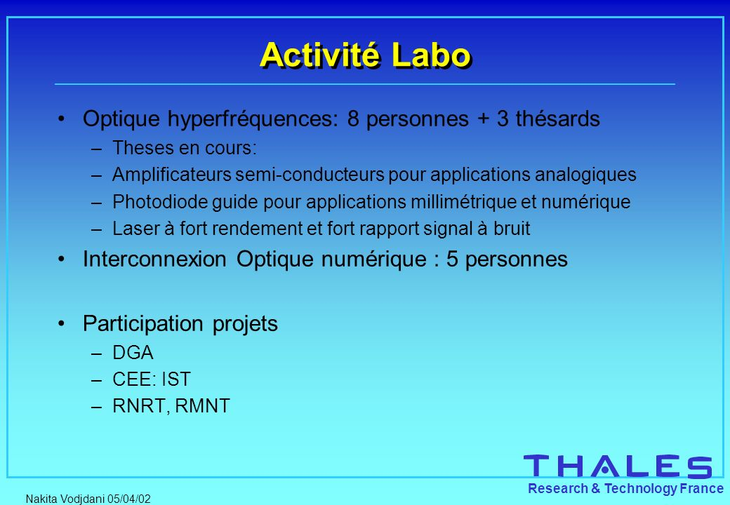 Nakita Vodjdani 05/04/02 Research & Technology France Activité Labo Optique hyperfréquences: 8 personnes + 3 thésards –Theses en cours: –Amplificateur