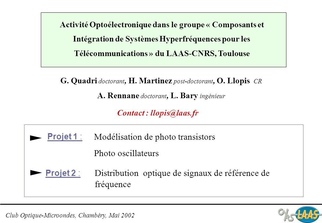 Club Optique-Microondes, Chambéry, Mai 2002 Projet 1 Photo TBH InP (1,55 µm) HEMT InP (1,55 µm) Photo TBH SiGe (0,85 µm) I(V) - Paramètres S Modélisation petit et fort signal en fonction de léclairement Modélisation en bruit