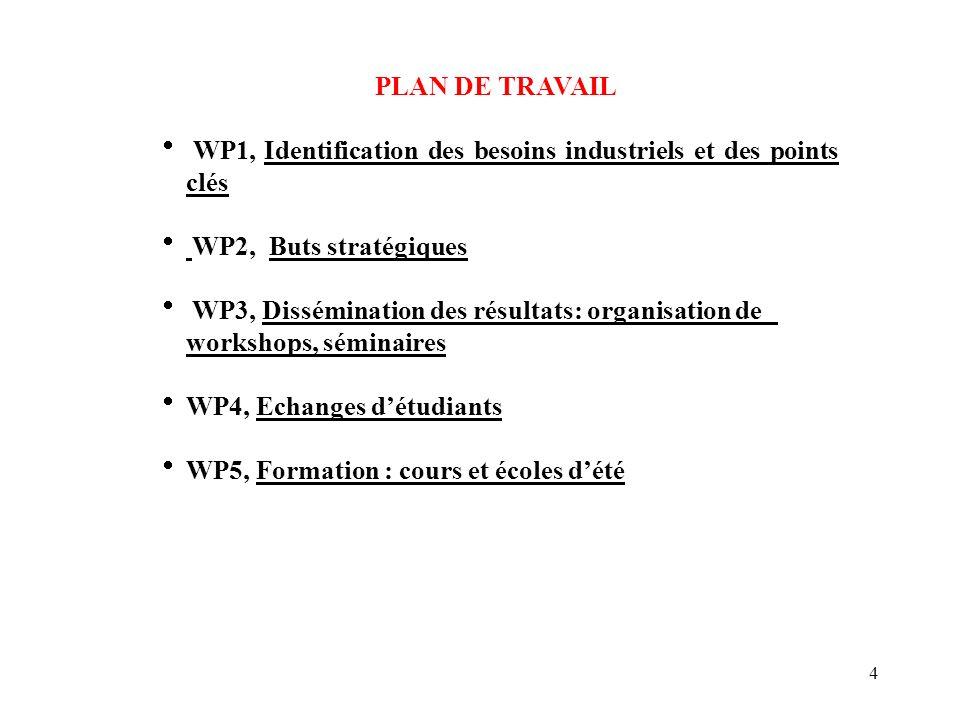 4 PLAN DE TRAVAIL WP1, Identification des besoins industriels et des points clés WP2, Buts stratégiques WP3, Dissémination des résultats: organisation de workshops, séminaires WP4, Echanges détudiants WP5, Formation : cours et écoles dété