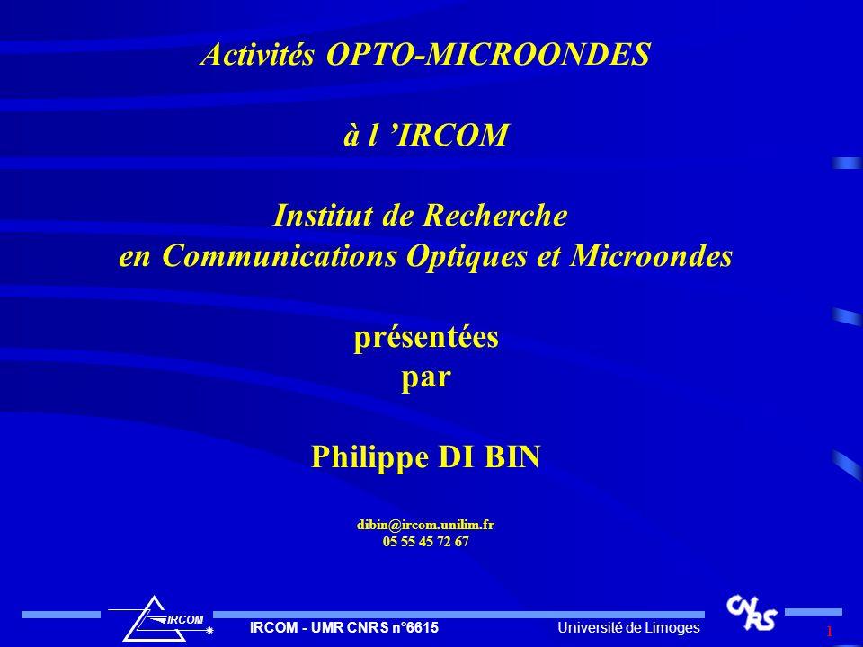 Université de LimogesIRCOM - UMR CNRS n°6615 IRCOM 12 Composants pour télécoms optiques hauts débits But Modélisation et conception de systèmes optiques et/ou optoélectroniques Principe Méthodes de calculs numériques (MEF…), CAO Intérêt Modélisation électromagnétique prenant en compte une structure globale là où les modèles simplifiés atteignent leurs limites (configurations optiques complexes, hautes fréquences de fonctionnement) Projets Modélisation de composants purement optiques Modélisation de boîtiers optoélectroniques
