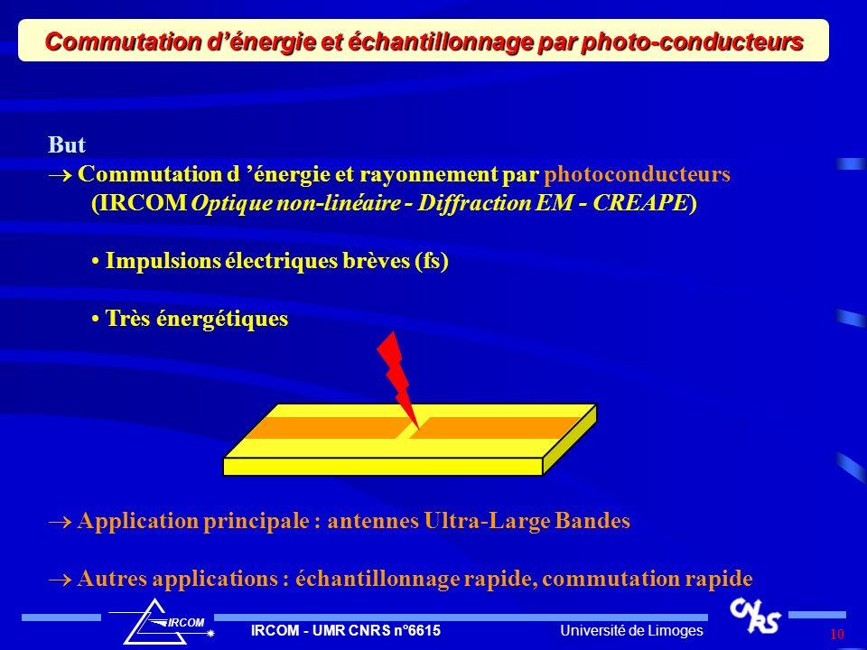Université de LimogesIRCOM - UMR CNRS n°6615 IRCOM 10 Commutation dénergie et échantillonnage par photo-conducteurs But Commutation d énergie et rayon