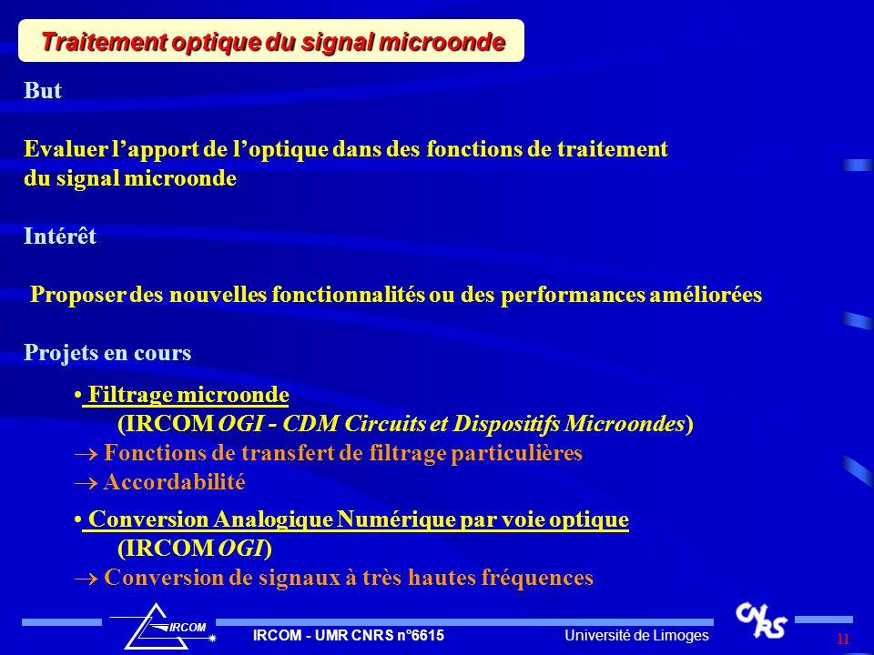 Université de LimogesIRCOM - UMR CNRS n°6615 IRCOM 11 Traitement optique du signal microonde But Evaluer lapport de loptique dans des fonctions de tra