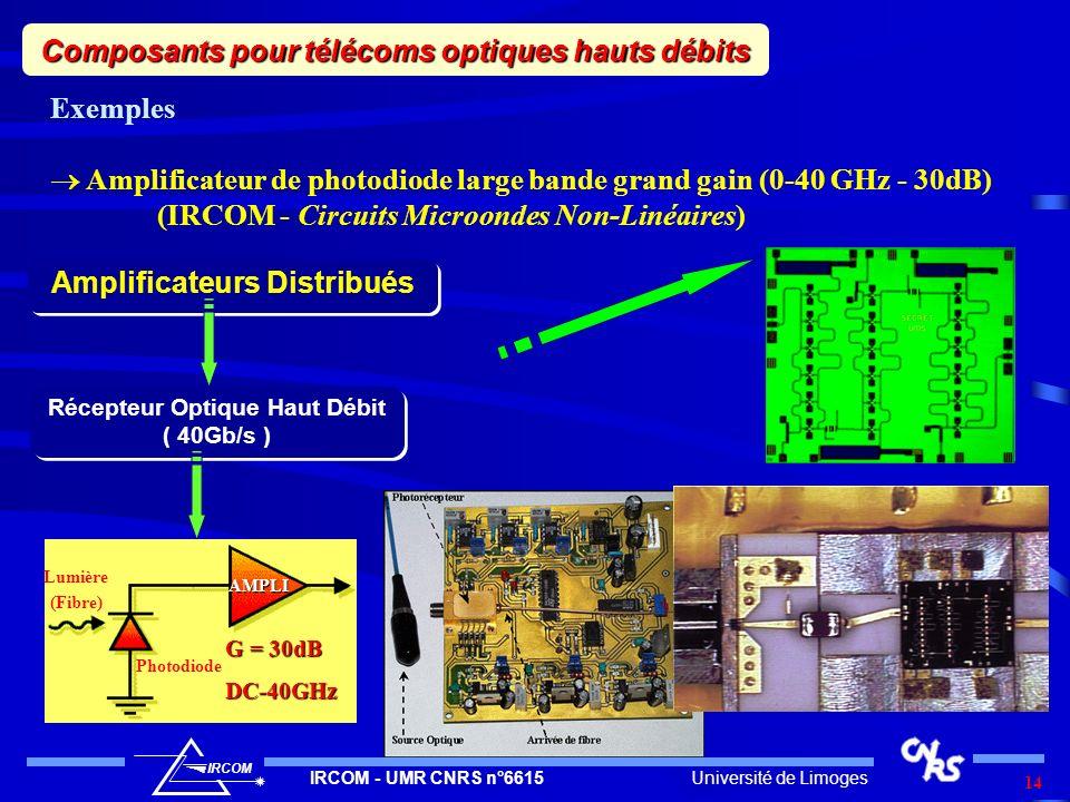 Université de LimogesIRCOM - UMR CNRS n°6615 IRCOM 14 Exemples Amplificateur de photodiode large bande grand gain (0-40 GHz - 30dB) (IRCOM - Circuits