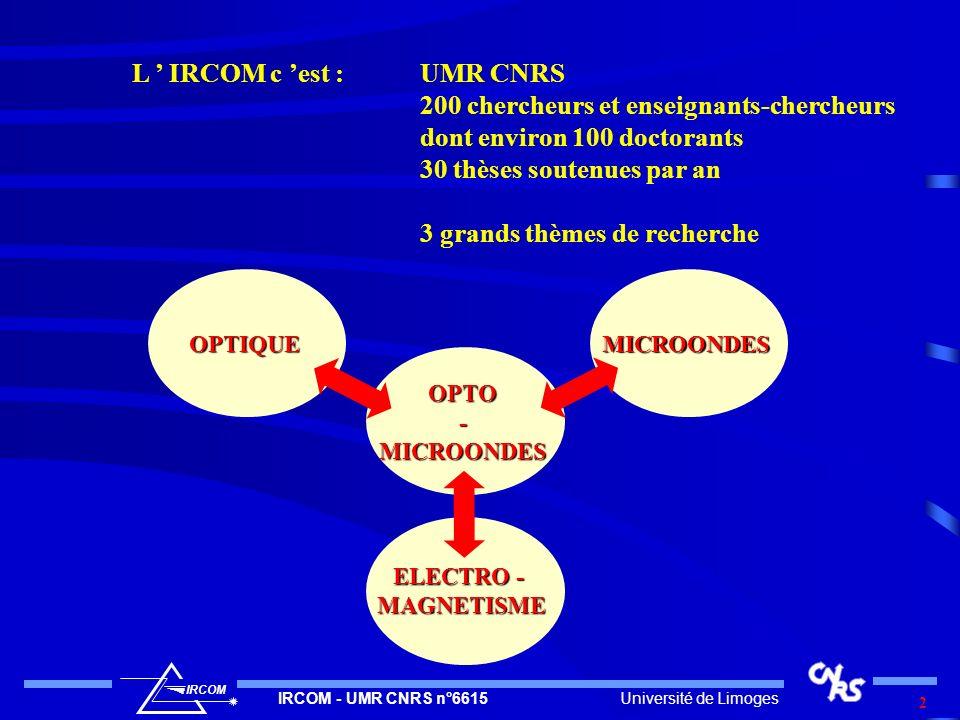Université de LimogesIRCOM - UMR CNRS n°6615 IRCOM 2 L IRCOM c est :UMR CNRS 200 chercheurs et enseignants-chercheurs dont environ 100 doctorants 30 t