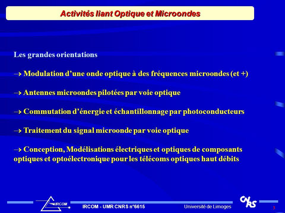 Université de LimogesIRCOM - UMR CNRS n°6615 IRCOM 4 But Modulation à très haute fréquence dune onde optique Contrôle et optimisation de la qualité spectrale de la modulation Principes étudiés Battement entre deux ondes lasers continues Qualité spectrale contrôlée par Asservissement en fréquence des ondes laser Asservissement en phase des ondes laser Modulateur EO à LiNbO 3 Guides couches minces de LiNbO 3 Génération dune onde optique modulée à très haute fréquence