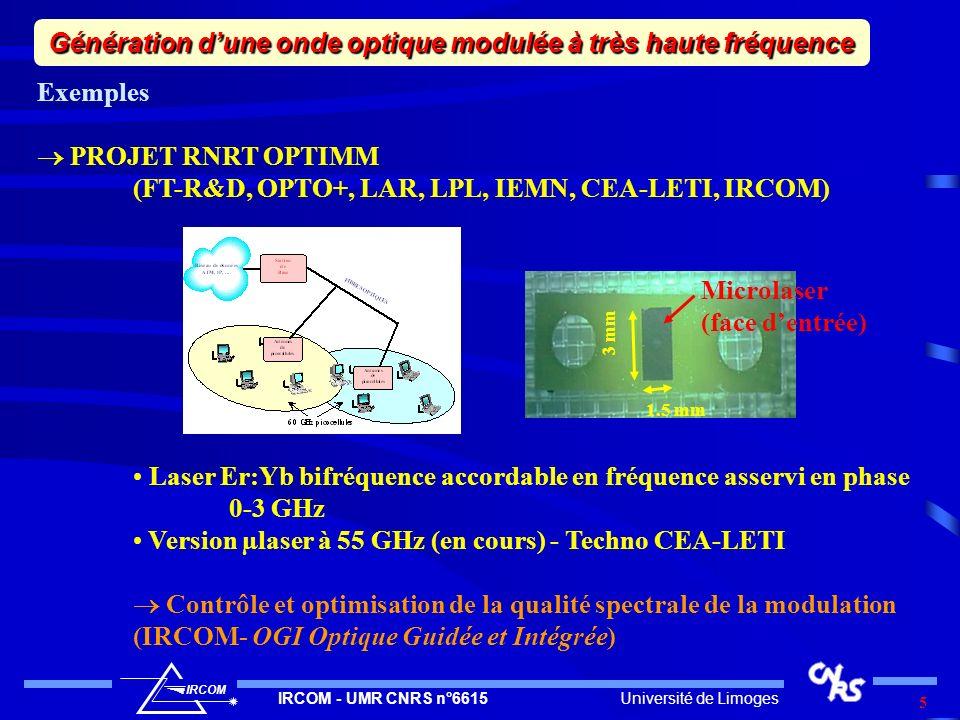 Université de LimogesIRCOM - UMR CNRS n°6615 IRCOM 6 Exemples Réalisation de couches minces de LiNbO 3 par ablation laser pour la réalisation de modulateurs rapides à faibles tensions de commandes Mise au point des étapes technologiques et validation des procédés (IRCOM - C2M Composants Micro-électroniques et Micro-optiques OGI Optique Guidée et Intégrée) Génération dune onde optique modulée à très haute fréquence