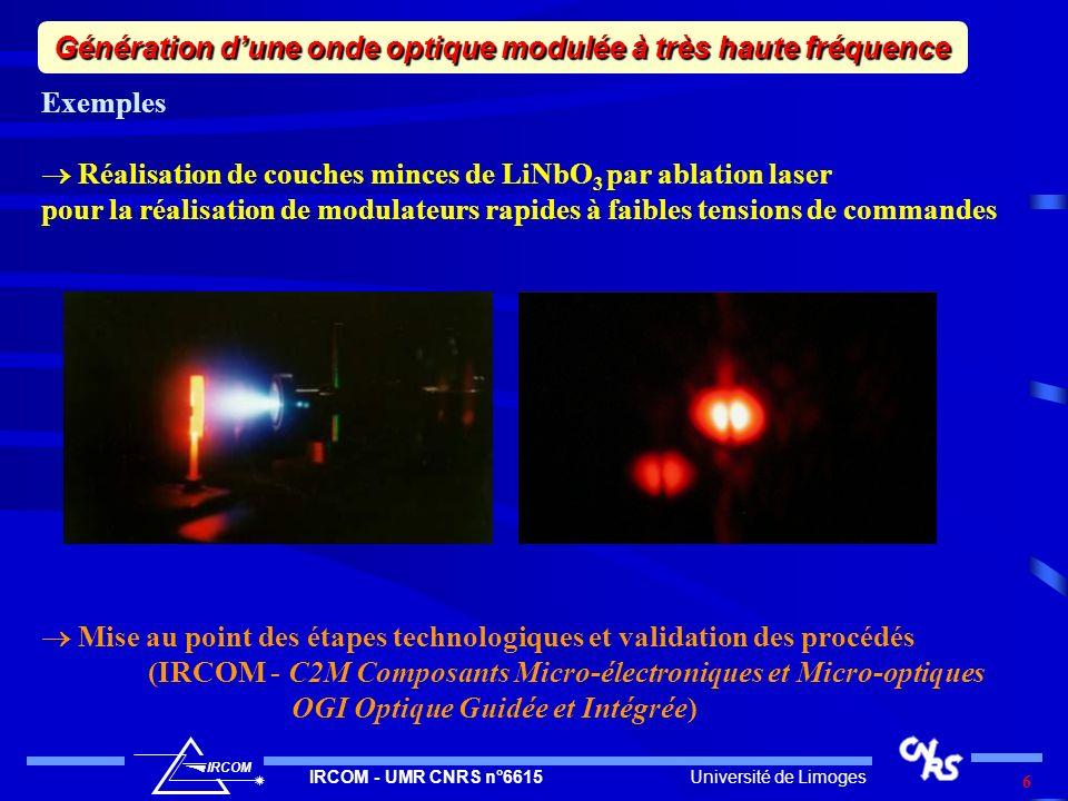 Université de LimogesIRCOM - UMR CNRS n°6615 IRCOM 7 Perspectives Montée en fréquence > 100 GHz (> 1 THz ??) Haute qualité spectrale de la modulation (<-100 dBc/Hz @ 10 kHz) Réalisation modulateur MZ Génération dune onde optique modulée à très haute fréquence