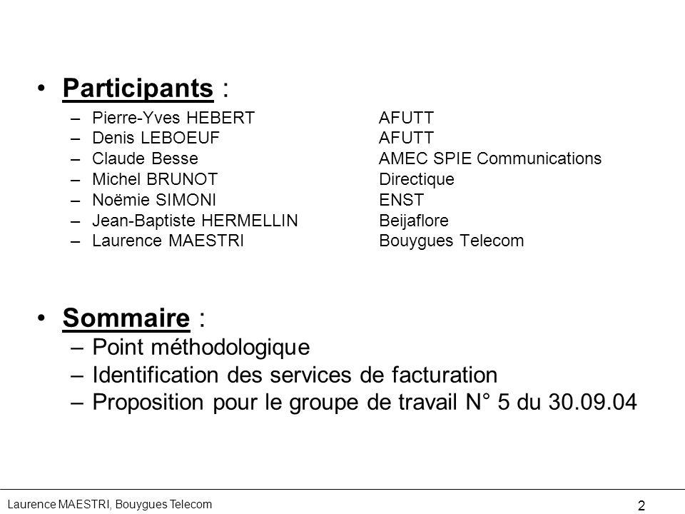 Laurence MAESTRI, Bouygues Telecom 2 Participants : –Pierre-Yves HEBERTAFUTT –Denis LEBOEUFAFUTT –Claude BesseAMEC SPIE Communications –Michel BRUNOTD