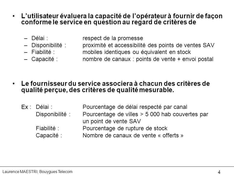 Laurence MAESTRI, Bouygues Telecom 4 Lutilisateur évaluera la capacité de lopérateur à fournir de façon conforme le service en question au regard de c