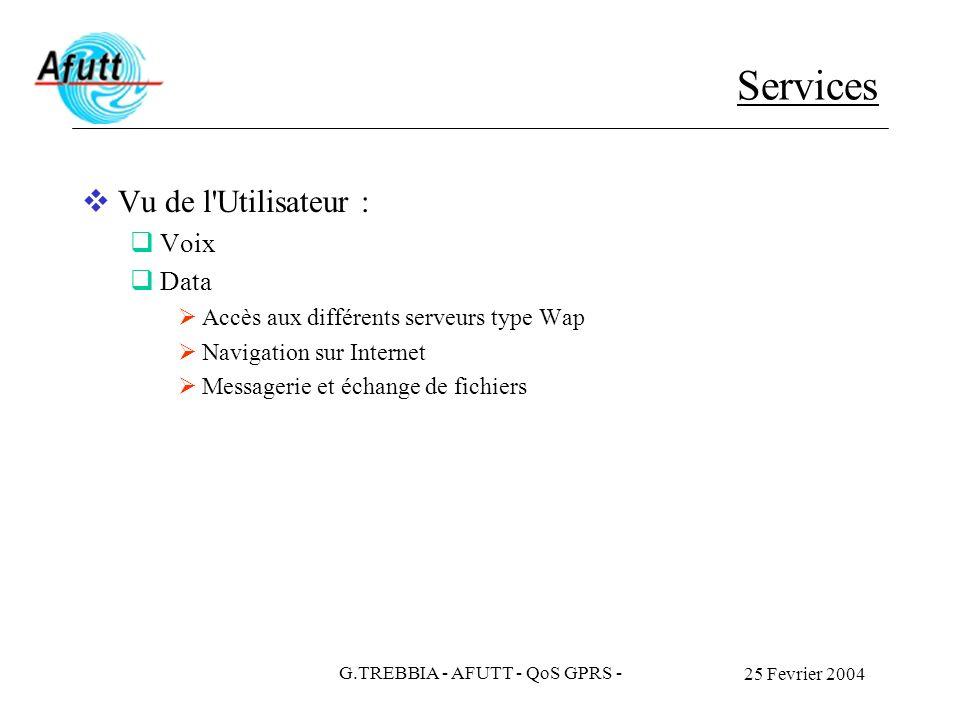 25 Fevrier 2004 G.TREBBIA - AFUTT - QoS GPRS - Services Vu de l'Utilisateur : Voix Data Accès aux différents serveurs type Wap Navigation sur Internet