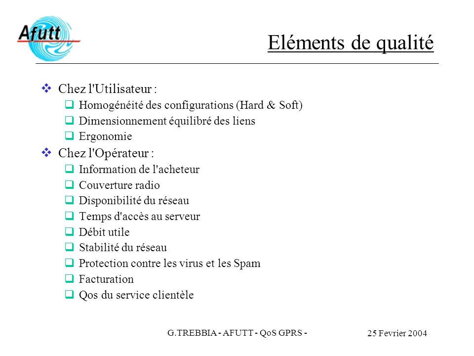 25 Fevrier 2004 G.TREBBIA - AFUTT - QoS GPRS - Eléments de qualité Chez l'Utilisateur : Homogénéité des configurations (Hard & Soft) Dimensionnement é