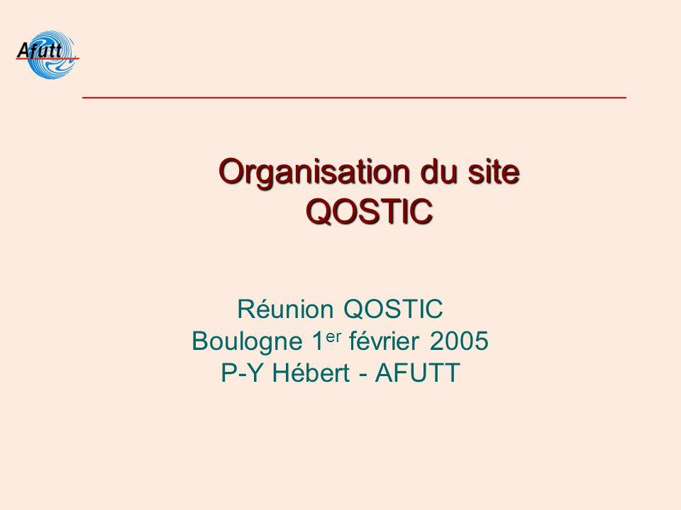 Organisation du site QOSTIC Réunion QOSTIC Boulogne 1 er février 2005 P-Y Hébert - AFUTT