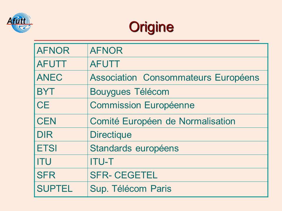 Origine AFNOR AFUTT ANECAssociation Consommateurs Européens BYTBouygues Télécom CECommission Européenne CENComité Européen de Normalisation DIRDirectique ETSIStandards européens ITUITU-T SFRSFR- CEGETEL SUPTELSup.