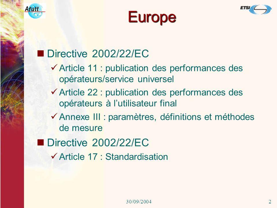 30/09/20041 QoS Quelques exemples des règles en vigueur dans divers pays européens Réunion QOSTIC Paris 30 septembre 2004 P-Y Hébert - AFUTT