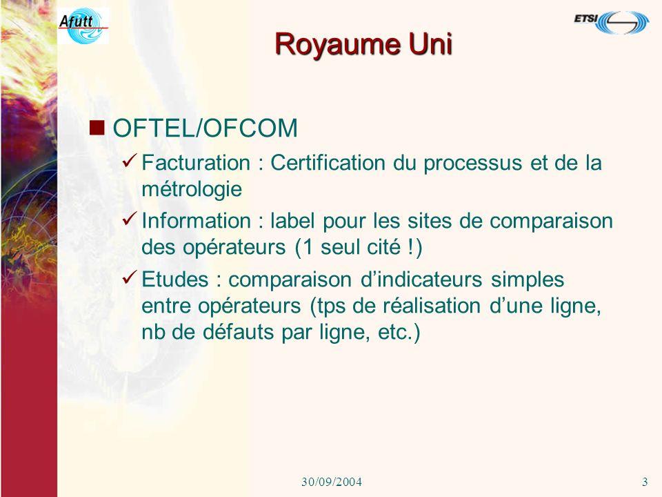30/09/20042 Europe Directive 2002/22/EC Article 11 : publication des performances des opérateurs/service universel Article 22 : publication des perfor