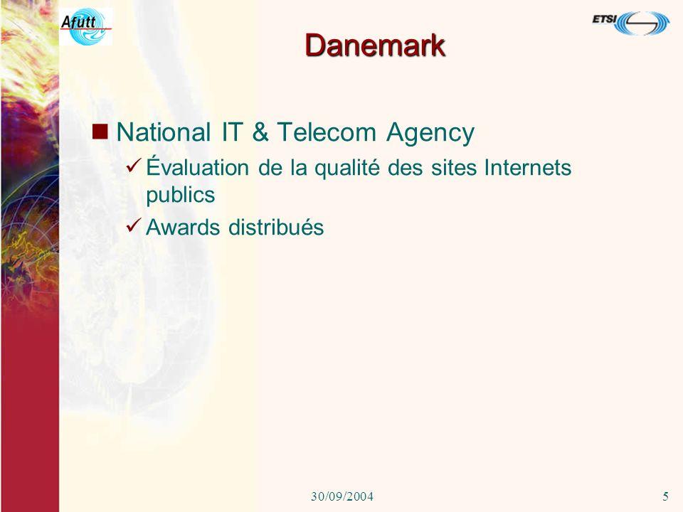30/09/20044 Allemagne RegTP Certification du processus et de la métrologie base de facturation pour la téléphonie.
