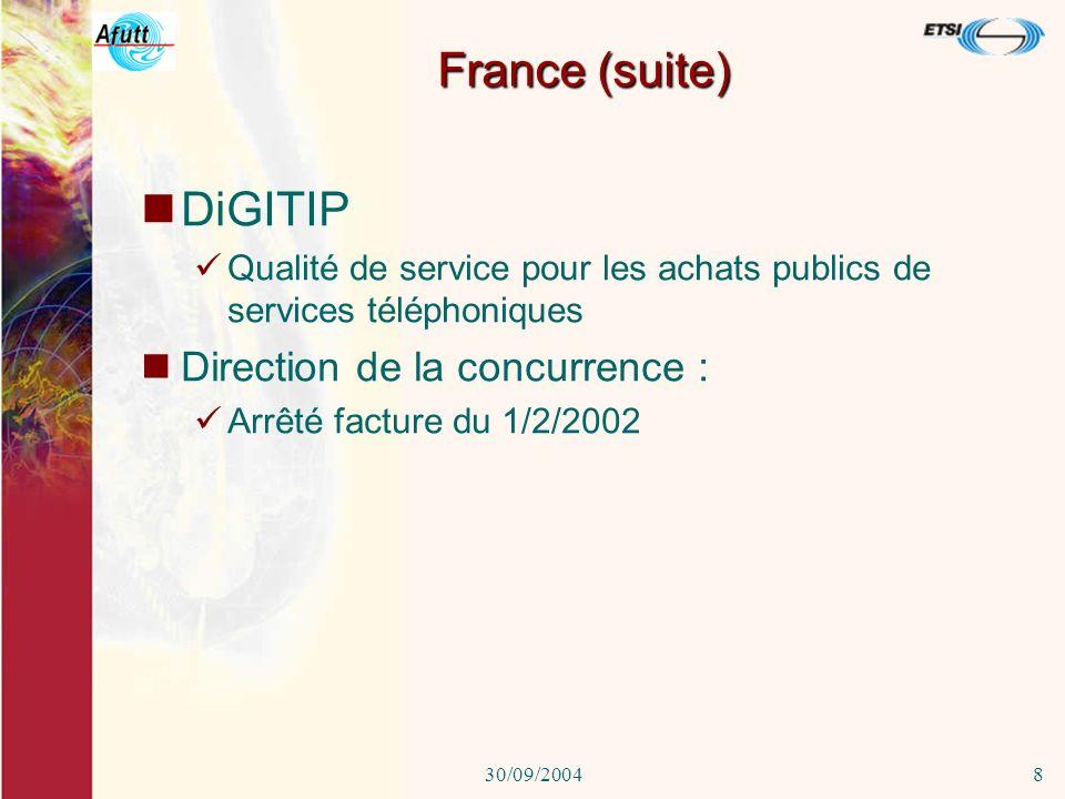 30/09/20047 En France ART: Qualité des services mobiles (Couverture et qualité de la communication) Grenouille.com comparaison des fournisseurs ISP Za