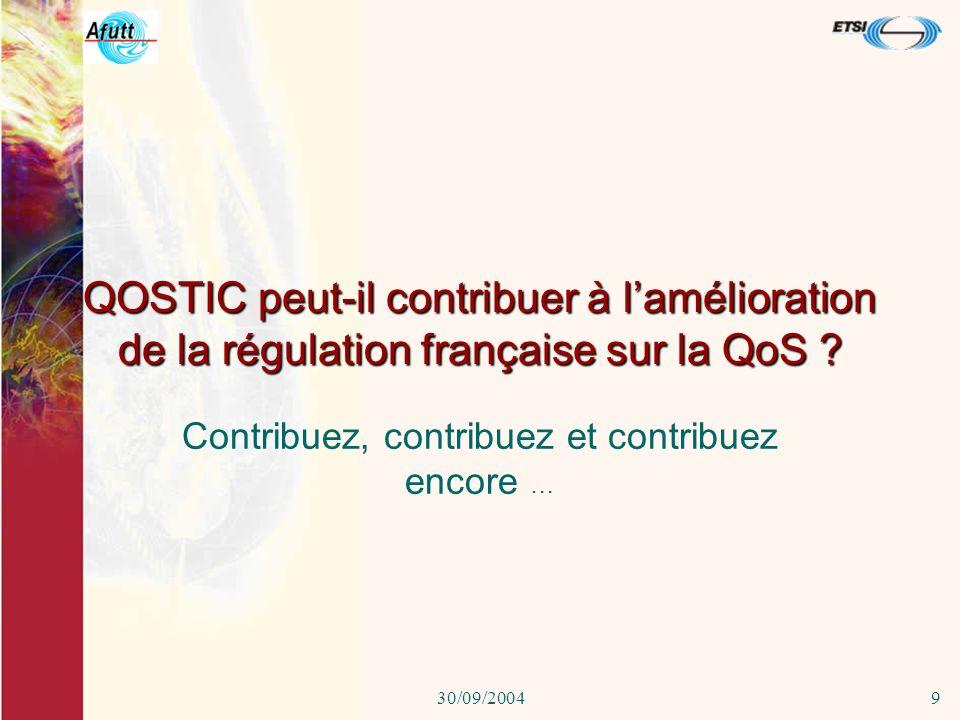 30/09/20048 France (suite) DiGITIP Qualité de service pour les achats publics de services téléphoniques Direction de la concurrence : Arrêté facture d