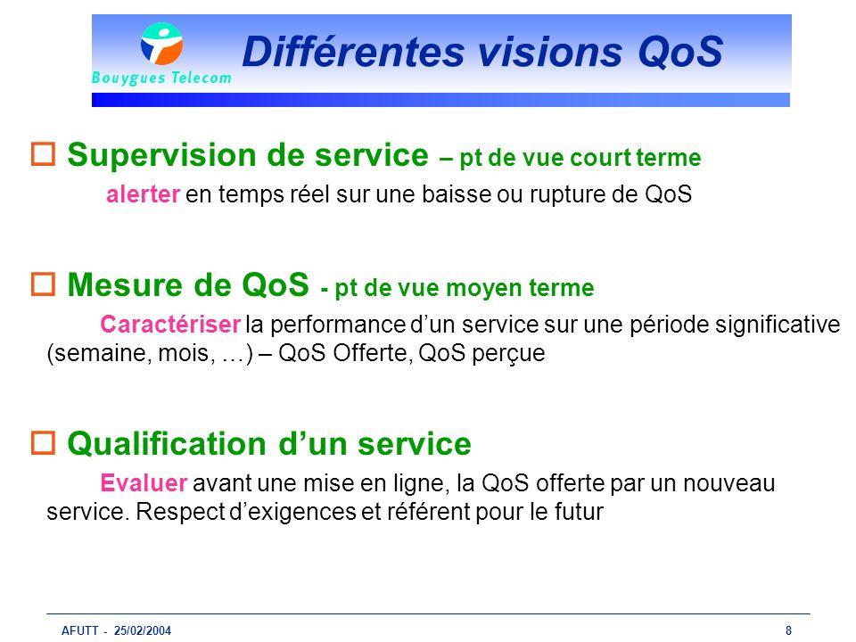 AFUTT - 25/02/20048 Différentes visions QoS o Supervision de service – pt de vue court terme alerter en temps réel sur une baisse ou rupture de QoS o