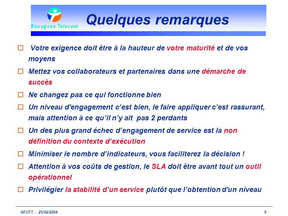 AFUTT - 25/02/20049 Quelques remarques o Votre exigence doit être à la hauteur de votre maturité et de vos moyens oMettez vos collaborateurs et parten