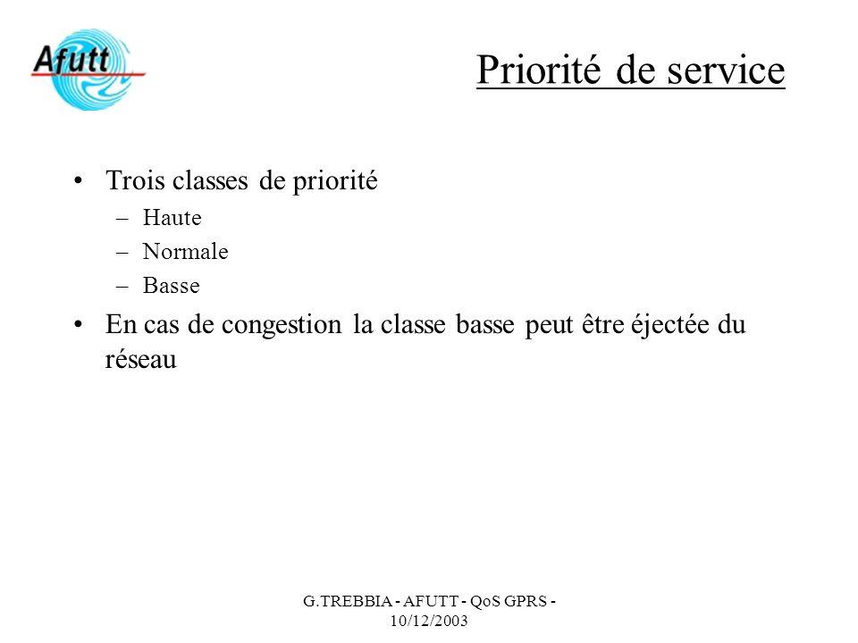 G.TREBBIA - AFUTT - QoS GPRS - 10/12/2003 Priorité de service Trois classes de priorité –Haute –Normale –Basse En cas de congestion la classe basse pe
