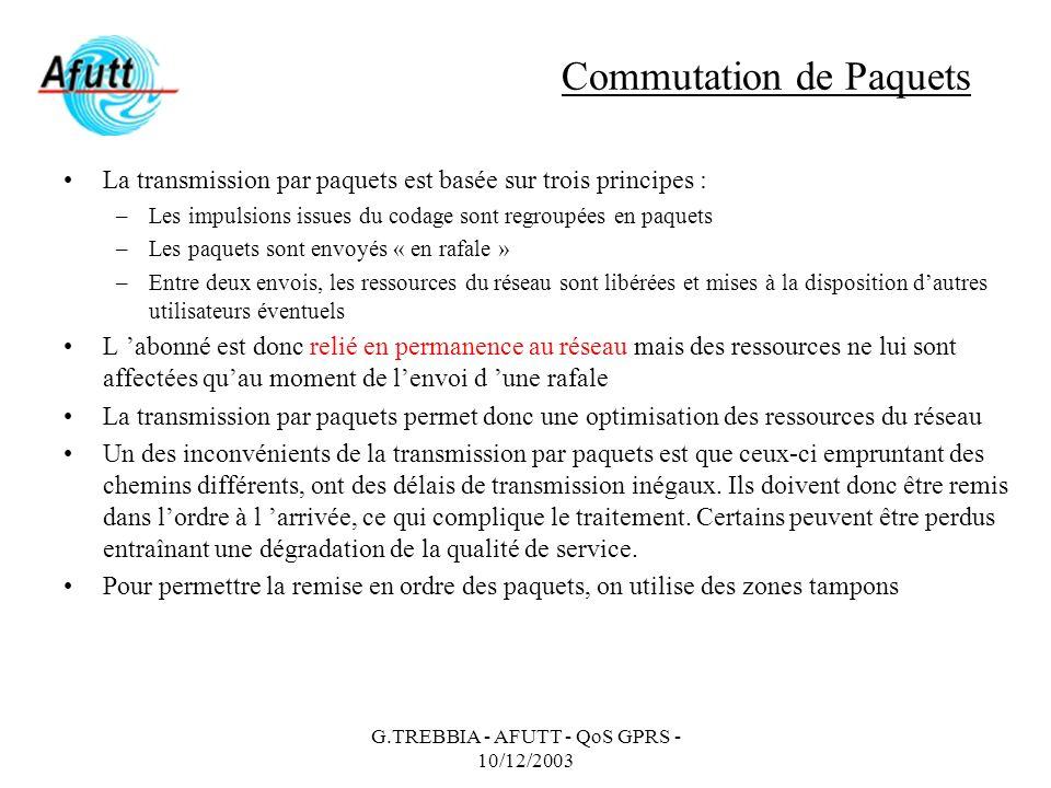 G.TREBBIA - AFUTT - QoS GPRS - 10/12/2003 Commutation de Paquets La transmission par paquets est basée sur trois principes : –Les impulsions issues du