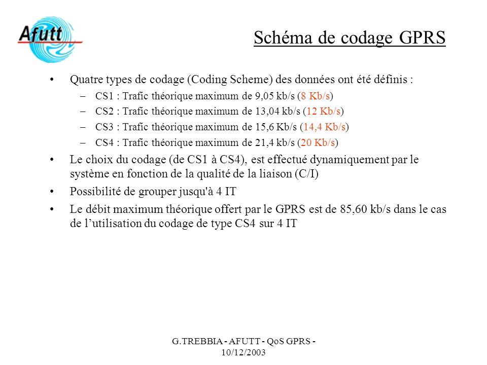 G.TREBBIA - AFUTT - QoS GPRS - 10/12/2003 Schéma de codage GPRS Quatre types de codage (Coding Scheme) des données ont été définis : –CS1 : Trafic thé