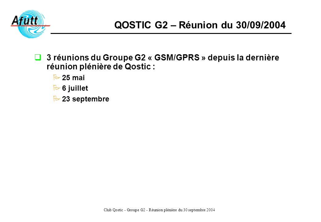 Club Qostic - Groupe G2 - Réunion plénière du 30 septembre 2004 Deux premières séances de travail ont porté essentiellement sur les modifications à apporter aux caractéristiques de lenquête de QoS menée annuellement par lART sur les réseaux GSM/GPRS Lobjectif fixé à la dernière était de tester le tableau Qostic 52 en y appliquant les spécificités du GSM/GPRS