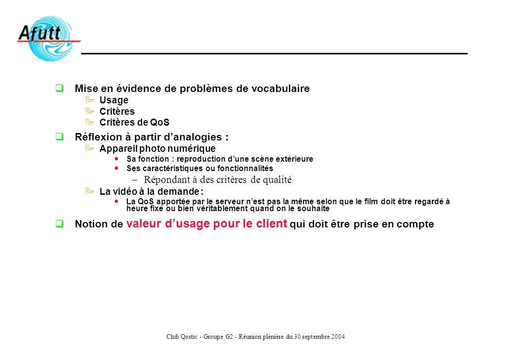 Club Qostic - Groupe G2 - Réunion plénière du 30 septembre 2004 Mise en évidence de problèmes de vocabulaire Usage Critères Critères de QoS Réflexion