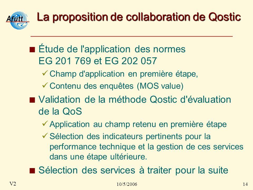 10/5/200614 V2 La proposition de collaboration de Qostic Étude de l application des normes EG 201 769 et EG 202 057 Champ d application en première étape, Contenu des enquêtes (MOS value) Validation de la méthode Qostic d évaluation de la QoS Application au champ retenu en première étape Sélection des indicateurs pertinents pour la performance technique et la gestion de ces services dans une étape ultérieure.