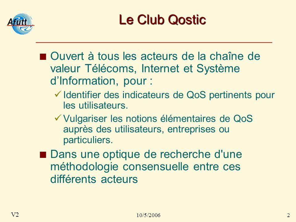 10/5/20062 V2 Le Club Qostic Ouvert à tous les acteurs de la chaîne de valeur Télécoms, Internet et Système dInformation, pour : Identifier des indicateurs de QoS pertinents pour les utilisateurs.