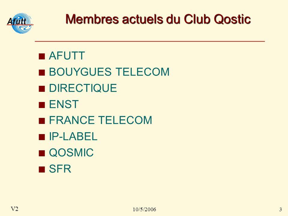 10/5/20063 V2 Membres actuels du Club Qostic AFUTT BOUYGUES TELECOM DIRECTIQUE ENST FRANCE TELECOM IP-LABEL QOSMIC SFR