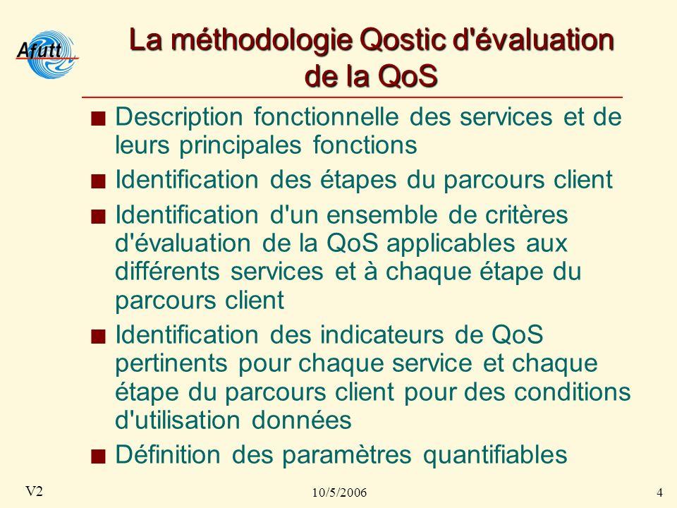 10/5/20064 V2 La méthodologie Qostic d évaluation de la QoS Description fonctionnelle des services et de leurs principales fonctions Identification des étapes du parcours client Identification d un ensemble de critères d évaluation de la QoS applicables aux différents services et à chaque étape du parcours client Identification des indicateurs de QoS pertinents pour chaque service et chaque étape du parcours client pour des conditions d utilisation données Définition des paramètres quantifiables
