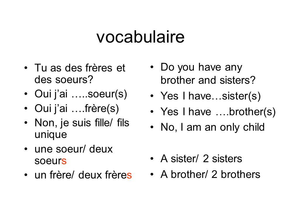 vocabulaire Tu as des frères et des soeurs? Oui jai …..soeur(s) Oui jai ….frère(s) Non, je suis fille/ fils unique une soeur/ deux soeurs un frère/ de