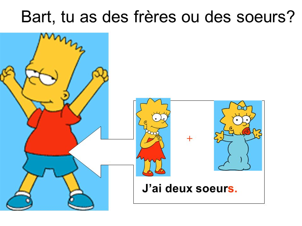 + Bart, tu as des frères ou des soeurs? Jai deux soeurs.